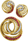 Estate Jewelry:Suites, Regner Diamond, Ruby, Gold Jewelry Suite, French. ... (Total: 2 Items)