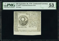 Continental Currency September 26, 1778 $30 Counterfeit Detector PMG About Uncirculated 53