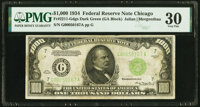 Fr. 2211-G $1,000 1934 Dark Green Seal Federal Reserve Note. PMG Very Fine 30