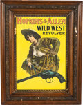Advertising:Signs, Hopkins & Allen: Colorful Cowgirl Advertising Poster. ...