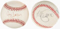Autographs:Baseballs, Signed Female Singers/Songwriters Baseballs, Lot of 2 - Lauper & Sporty Spice!...