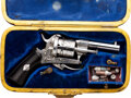 Handguns:Double Action Revolver, Cased and Engraved Pinfire Double Action Revolver.. . ...