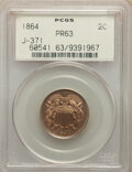 1864 2C Two Cent Piece, Judd-371, Pollock-440, Low R.6, PR63 PCGS. Regular dies trial issue of the Large Motto two cent...