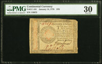 Continental Currency January 14, 1779 $70 PMG Very Fine 30