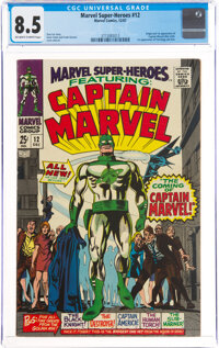 Marvel Super-Heroes #12 Captain Marvel (Marvel, 1967) CGC VF+ 8.5 Off-white to white pages