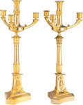 Decorative Accessories, A Pair of French Empire Gilt Bronze Four-Light Candelabra, first quarter of the 19th century. 21-1/2 x 8-1/2 x 8-1/2 inches ... (Total: 2 Items)