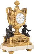 Clocks & Mechanical, A Large French Louis XVI-Style Patinated and Gilt Bronze Figural Clock on a Marble Base, 19th century. Marks: Ferdinand Be...