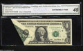 Error Notes:Foldovers, Fr. 1926-F $1 2001 Federal Reserve Note. CGA Extremely Fine ...