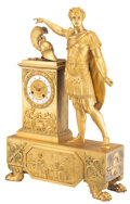 Clocks & Mechanical, A Large French Empire Gilt Bronze Figural Mantel Clock, mid-19th century. 25-1/2 x 16-3/4 x 5-1/4 inches (64.8 x 42.5 x 13.3...