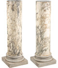 Furniture, A Pair of Continental Variegated Marble Columns. 49-1/2 x 16 x 16 inches (125.7 x 40.6 x 40.6 cm). Property from the Col... (Total: 2 Items)