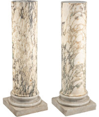 A Pair of Continental Variegated Marble Columns 49-1/2 x 16 x 16 inches (125.7 x 40.6 x 40.6 cm)  Propert