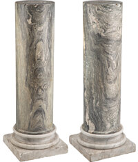A Pair of Continental Marble Pedestals 46-3/4 x 16-1/8 inches (118.7 x 41.0 cm) (each)  Property from the Collection of...