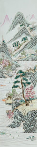 Ceramics & Porcelain, Two Large Chinese Framed Porcelain Plaques, Qing Dynasty. 39 x 17 inches (99.1 x 43.2 cm) (overall). 30 x 8 inches (76.2 x 2... (Total: 2 Items)