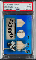 Baseball Cards:Singles (1970-Now), 2009 Topps Tribute Babe Ruth Triple Bat/Jersey/Bat Relic (Blue) #1 PSA Mint 9 - Serial Numbered 17/75. ...