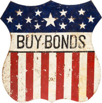 "World War II: ""Buy Bonds"" Heavy Steel Depot Sign"
