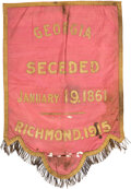 Miscellaneous:Ephemera, Confederate States: 1915 George Secession Commemorative Banner with Georgia State Seal Needlework. . ... (Total: 2 Items)