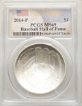 Modern Commemoratives, 2014-P $1 Baseball Hall of Fame, First Strike, MS69 PCGS. ...