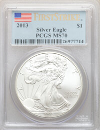 (2)2013 $1 Silver Eagle, First Strike, MS70 PCGS. This lot will also include (2)2014 $1 Silver Eagle, First Stri... (Tot...