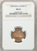 Flying Eagle Cents: , 1858 1C Small Letters MS62 NGC. NGC Census: (149/564). PCGS Population: (147/722). CDN: $700 Whsle. Bid for NGC/PCGS MS62. ...
