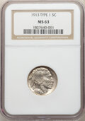 Buffalo Nickels, 1913 5C Type One MS63 NGC. And a 1918 5C MS62 NGC. ... (Total: 2 coins)