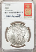Morgan Dollars, 1890 $1 MS65 NGC. The NGC insert is hand-signed by longtime Guide Book editor Kenneth Bressett. NGC Census: (307/8). PCGS P...