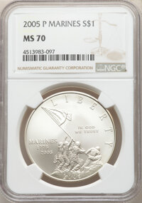 2005-P $1 Marine Corps Silver Dollar MS70 NGC. NGC Census: (7557). PCGS Population: (1304). CDN: $125 Whsle. Bid for NGC...