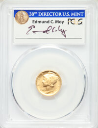 2016-W 10C Tenth Ounce Gold Mercury Dime, 100th Anniversary, First Strike Moy Signature, 1 of 1188, SP70 PCGS. This lot...