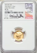 2016-W 10C Mercury Dime Tenth Ounce Gold, 100th Anniversary, Mike Castle Signature, Early Releases, SP70 NGC. This lot a...