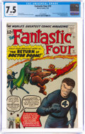 Silver Age (1956-1969):Superhero, Fantastic Four #10 (Marvel, 1963) CGC VF- 7.5 White pages....
