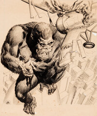 """Gray Morrow The Monster Times #1 Cover """"King Kong"""" Scene Original Art and Reading Copy (Monster Times Publ., 1..."""