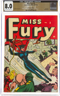 Miss Fury #3 The Promise Collection Pedigree (Timely, 1944) CGC VF 8.0 Off-white to white pages