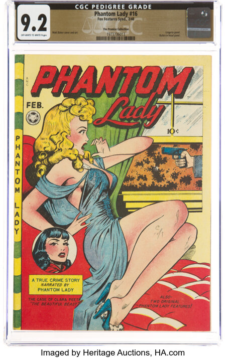 Phantom Lady #16 The Promise Collection Pedigree (Fox Features Syndicate, 1948) CGC NM- 9.2 Off-white to white pages....