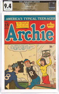 Archie Comics #15 The Promise Collection Pedigree (MLJ, 1945) CGC NM 9.4 Off-white pages