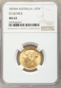 "Australia: Victoria gold ""St. George"" Sovereign 1876-M MS62 NGC"