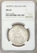Bolivia: Republic 4 Soles 1830 PTS-J MS62 NGC
