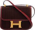 Luxury Accessories:Bags, Hermès Vintage Limited Edition 23cm Rouge H Calf Box Leather & Woven Inset Constance Bag with Gold Hardware. H Circle, 197...