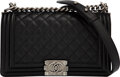 """Luxury Accessories:Bags, Chanel Black Quilted Caviar Leather Medium Boy Bag with Ruthenium Hardware. Condition: 1. 10"""" Width x 5.5"""" Height x 3""""..."""