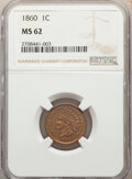 Indian Cents: , 1860 1C MS62 NGC. NGC Census: (178/759). PCGS Population: (190/1162). CDN: $200 Whsle. Bid for NGC/PCGS MS62. Mintage 20,56...
