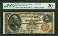 National Bank Notes:Pennsylvania, Bethlehem, PA - $5 1882 Brown Back Fr. 472 The Lehigh Valley National Bank Ch. # (E)2050 PMG Very Fine 20.. ...