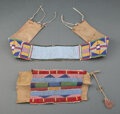American Indian Art:Beadwork and Quillwork, Two Crow Beaded Hide Fragments... (Total: 2 )
