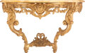 Furniture, A French Restauration Carved Giltwood Console Table with Marble Top, circa 1720. 31-1/2 x 42-3/4 x 20-1/2 inches (80.0 x 108...