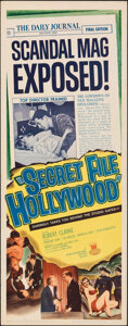 "Movie Posters:Crime, Secret File: Hollywood (Crown International, 1961). Rolled, Fine/Very Fine. Insert (14"" X 36""). Crime.. ..."