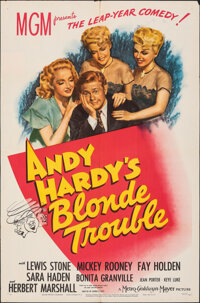 """Andy Hardy's Blonde Trouble (MGM, 1944). Folded, Fine/Very Fine. One Sheet (27"""" X 41""""). Comedy"""