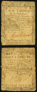 Continental Currency February 17, 1776 $1/2 Very Good; Continental Currency February 17, 1776 $2/3 Very Good. ... (Total...