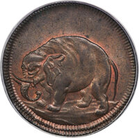 (1694) 1/2 P London Elephant Token, Thick Planchet, W-12040, MS66 Red and Brown PCGS. CAC....(PCGS# 56)