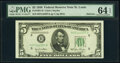 Small Size:Federal Reserve Notes, Fr. 1961-H; K $5 1950 Narrow Federal Reserve Notes. PMG Graded Choice Uncirculated 64 EPQ; Choice Uncirculated 63 EPQ.. ... (Total: 2 notes)