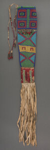 American Indian Art:Beadwork and Quillwork, A Sioux Beaded Hide Knife Sheath...