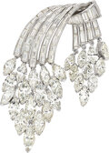 Estate Jewelry:Brooches - Pins, Diamond, Platinum Brooch Stones: Marquise-shap...