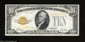 Small Size:Gold Certificates, Fr. 2400 $10 1928 Gold Certificate. Very Fine+.