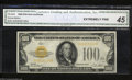 Small Size:Gold Certificates, Fr. 2405 $100 1928 Gold Certificate. CGA Extremely Fine 45.
